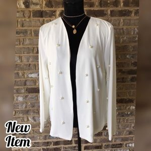 🌸WHITE PEARL DESIGN BLAZER CARDIGAN JACKET